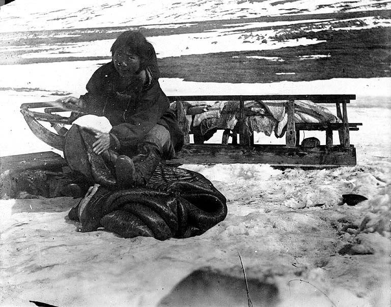 Eskimo woman dressing walrus skin, Alaska, nd (COBB 273).jpeg