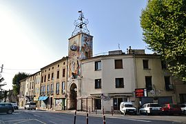 The clock tower in Estagel