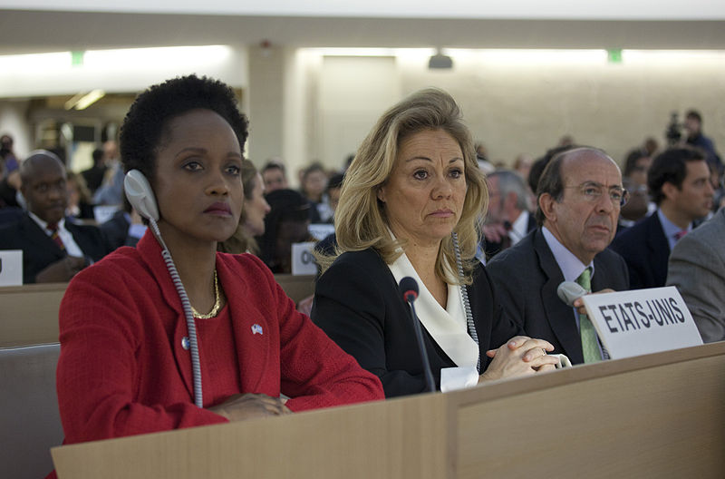 File:Esther Brimmer and Eileen Chamberlain Donahoe Listen to Debate at HRC emergency session on Syria.jpg