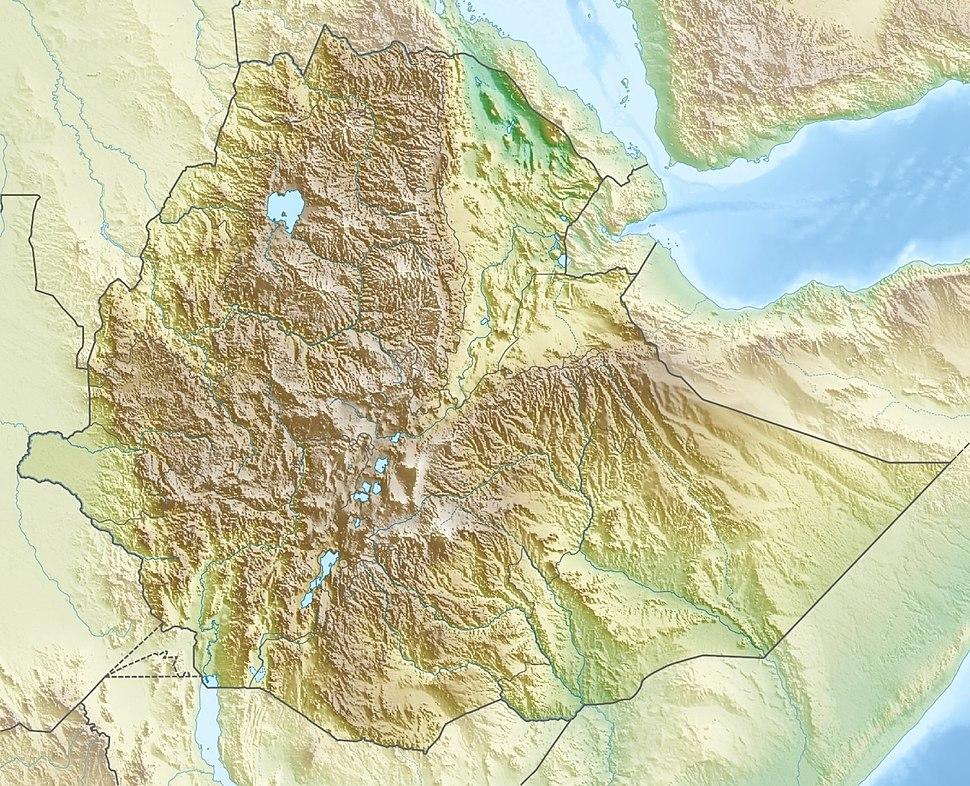 Ethiopia relief location map