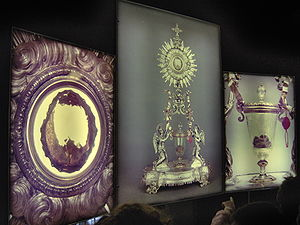Eucharistic miracle - Eucharistic Miracle of Lanciano - rear-lighted panel.  On the left the heart tissue, on the right the pellets of blood. It is the first Eucharistic miracle in history.