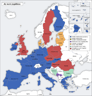 English: map of Europe; blue: Eurozone, green:...
