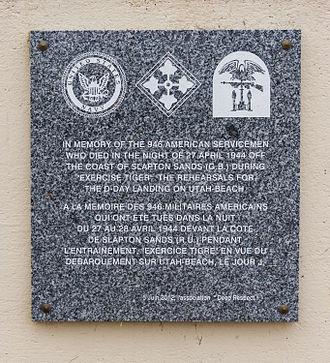 Exercise Tiger - Memorial plaque at Utah Beach