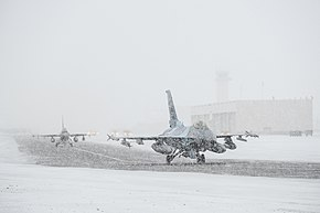 F-16 Fighting Falcons taxi down the runway at Eielson Air Force Base.jpg