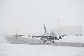 343d Wing - 18th Squadron F-16s taxi at Eielson Air Force Base