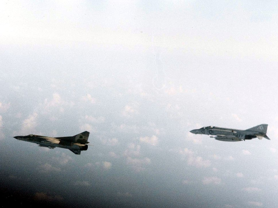 F-4J of VF-74 with Libyan MiG-23 over Gulf of Sidra 1981