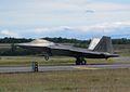 F22 Raptor landing and aerodynamic braking.JPG