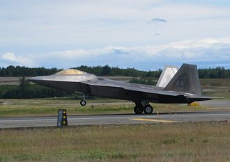 Aerobraking - An F-22 Raptor landing at Elmendorf AFB, demonstrating aerodynamic braking.