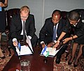 FM Urmas Paet and FM of Lesotho Mohlabi Kenneth Tsekoa (New York 27th September 2012) (8032336195).jpg