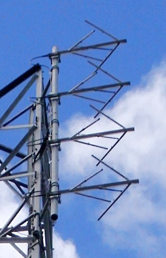 Effective radiated power - Four bay crossed-dipole antenna of an FM broadcasting station.