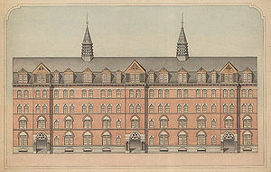 Russell Sturgis - Architectural drawings for Farnam Hall, Yale College, by Russell Sturgis, ca. 1868
