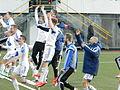 Faroe Islands celebrate after winning against Greece.JPG