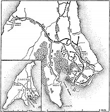 Map of Labuan marked with localities referred to in the article, and the movements of military units as described in the article