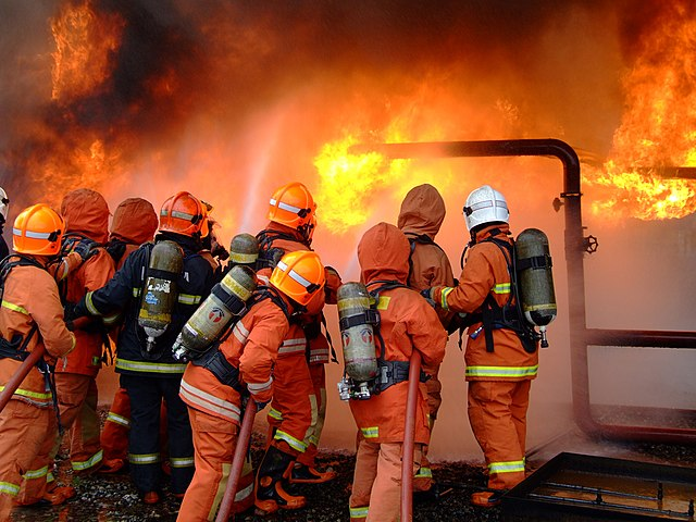 File Fire And Rescue Department Of Malaysia Firefighters During Exercise Jpg Wikimedia Commons