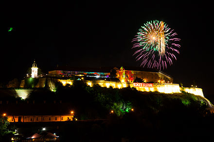 Petrovaradin Fortress in Novi Sad during the Exit Festival, proclaimed as the Best Major European festival at the EU Festival Awards Fireworks, Petrovaradin fortress, 2015.jpg