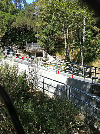 Los Trancos Creek - A new Fish ladder constructed by Stanford University in 2009 was intended to enable steelhead trout to pass their dam which diverts water to Felt Lake.