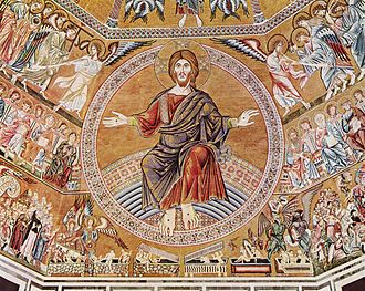 Christ in Majesty - Florentine mosaic Last Judgement of about 1300
