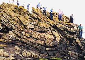 English: Folded rocks near Collieston. This is...