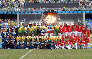 2007 Pan American Games medal table - Image: Football Women Podium Pan 2007