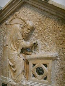 Architettura (dettaglio), formella del Campanile di Giotto, Nino Pisano, 1334-1336, Firenze