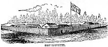A woodcut of a wooden fort, with a palisade enclosing buildings, and evergreen trees in the background