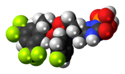 Space-filling model of the fosaprepitant molecule