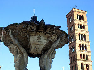 The belltower of S. Maria in Cosmedin towers o...
