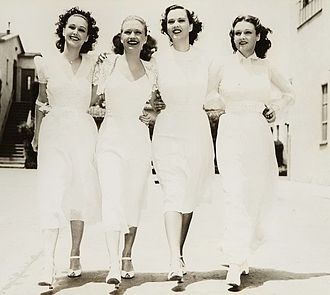 Lane Sisters - Rosemary, Priscilla, Gale Page and Lola Lane in Warner Bros. publicity photo of the 1938 film Four Daughters.