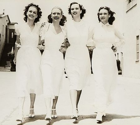 Rosemary, Priscilla, Gale Page and Lola Lane in Warner Bros. publicity photo of the 1938 film Four Daughters Four Daughters Warner Bros.jpg