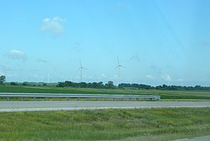 Benton County, Indiana - Wind turbines in Benton County from U.S. 52