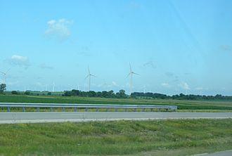 Benton County, Indiana - Wind turbines in Benton County from U.S. 52
