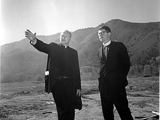 All Saints' Day School - Reverends Peter Farmer and David Hill at the campus site before groundbreaking circa 1964