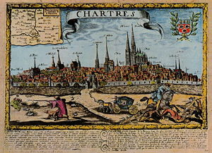 Gilles Jullien - A 17th-century engraving of Chartres. The Chartres Cathedral, where Jullien worked almost his entire life, is on the right, the tallest structure in the picture.
