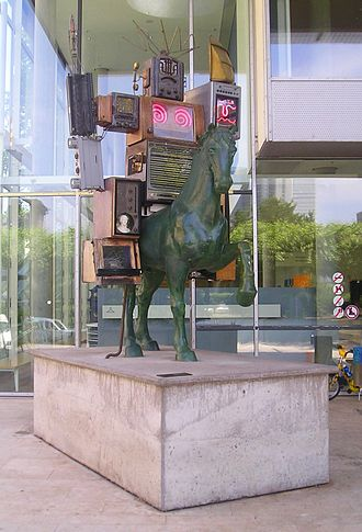 Nam June Paik - Pre-Bell-Man, statue in front of the 'Museum für Kommunikation', Frankfurt am Main, Germany