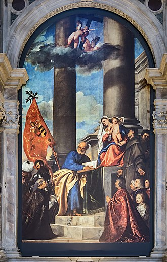 Venetian school (art) - Titian's early and dramatically composed Pesaro Madonna (1526), with rich Venetian colouring.