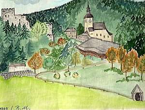 RUINS FRAUENBURG and church from Brunhilde May...