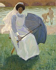 Woman with Green Parasol