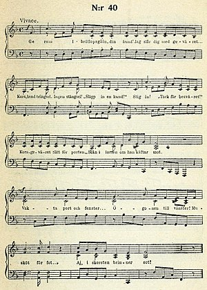 Ge rum i Bröllopsgåln din hund! - Bellman's musical score for the Epistle, here in the 1920 Bonniers edition
