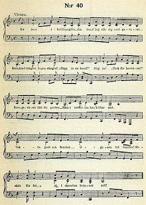 Ge rum i Bröllopsgåln din hund! - Bellman's musical score for the Epistle, here in the 1920 Bonniers edition