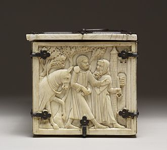 Courtship - Ivory French casket with scenes of romances – possibly a courtship gift. Held in the Walters Art Museum.