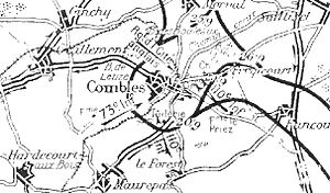 Capture of Combles - Image: French operations leading to the capture of Combles 20 26 September 1916