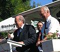 Fritz Walter Haus, Fifa-Präsident Blatter Startrompeter Walter Scholz, Bernd Lutzi von Hans Buch.JPG