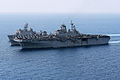 From foreground, the amphibious assault ship USS Kearsarge (LHD 3), the fleet replenishment oiler USNS Walter S. Diehl (T-AO 193) and the amphibious dock landing ship USS Carter Hall (LSD 50) conduct 130502-N-SB587-291.jpg