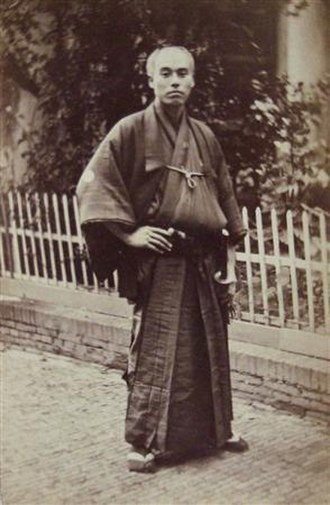 Fukuzawa Yukichi - Fukuzawa posing in Utrecht as part of the First Japanese Embassy to Europe, 1862.