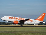 G-EZAV (aircraft) Airbus A319 (EasyJet) takeoff from Schiphol (AMS - EHAM), The Netherlands pic2.JPG