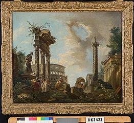 Capriccio met het Colosseum, de Tempel van Castor en Pollux,