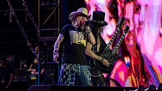 Slash (musician) - Axl Rose (left) and Slash (right) performing with Guns N' Roses in 2018