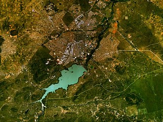 Notwane River - NASA picture of the Notwane River with the Gaborone Dam