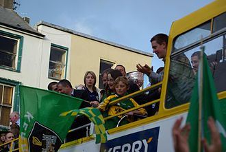 Kerry GAA - Kerry team celebrating with Sam Maguire Cup in Tralee in 2007