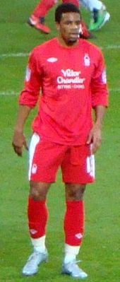 Garath McCleary on the pitch wearing Nottingham Forest's home kit
